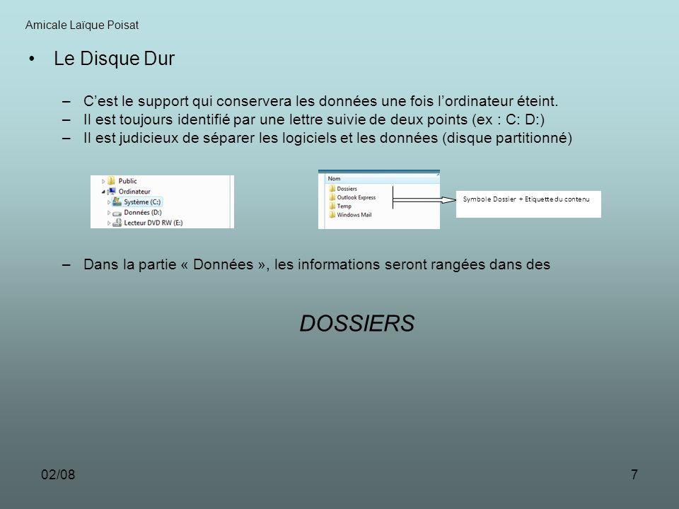 Amicale Laïque PoisatLe Disque Dur. C'est le support qui conservera les données une fois l'ordinateur éteint.