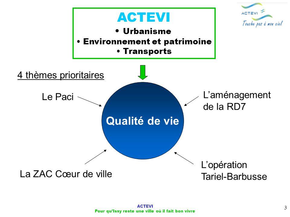 ACTEVI Qualité de vie Urbanisme 4 thèmes prioritaires L'aménagement