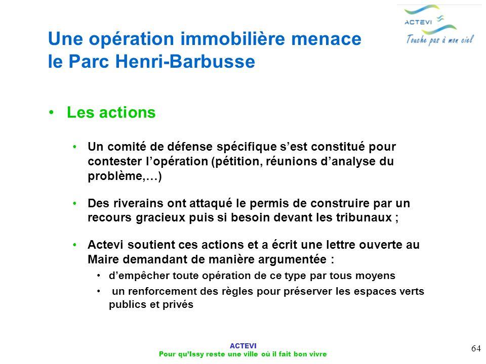 Une opération immobilière menace le Parc Henri-Barbusse