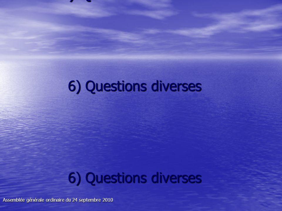 6) Questions diverses 6) Questions diverses 6) Questions diverses 6) Questions diverses