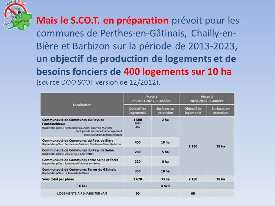 Mais le S.CO.T. en préparation prévoit pour les communes de Perthes-en-Gâtinais, Chailly-en-Bière et Barbizon sur la période de 2013-2023,