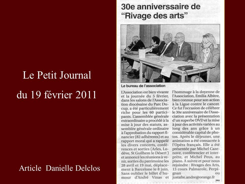 Le Petit Journal du 19 février 2011 Article Danielle Delclos