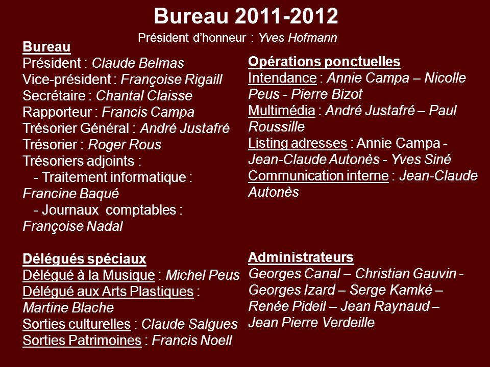 Bureau 2011-2012 Bureau Président : Claude Belmas