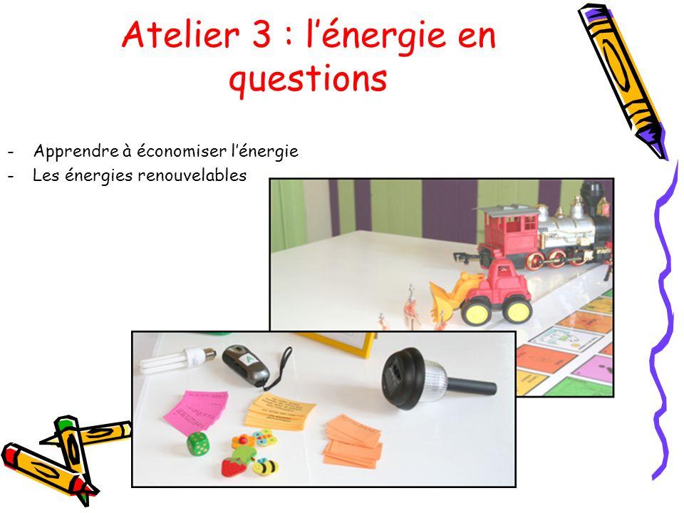 Atelier 3 : l'énergie en questions