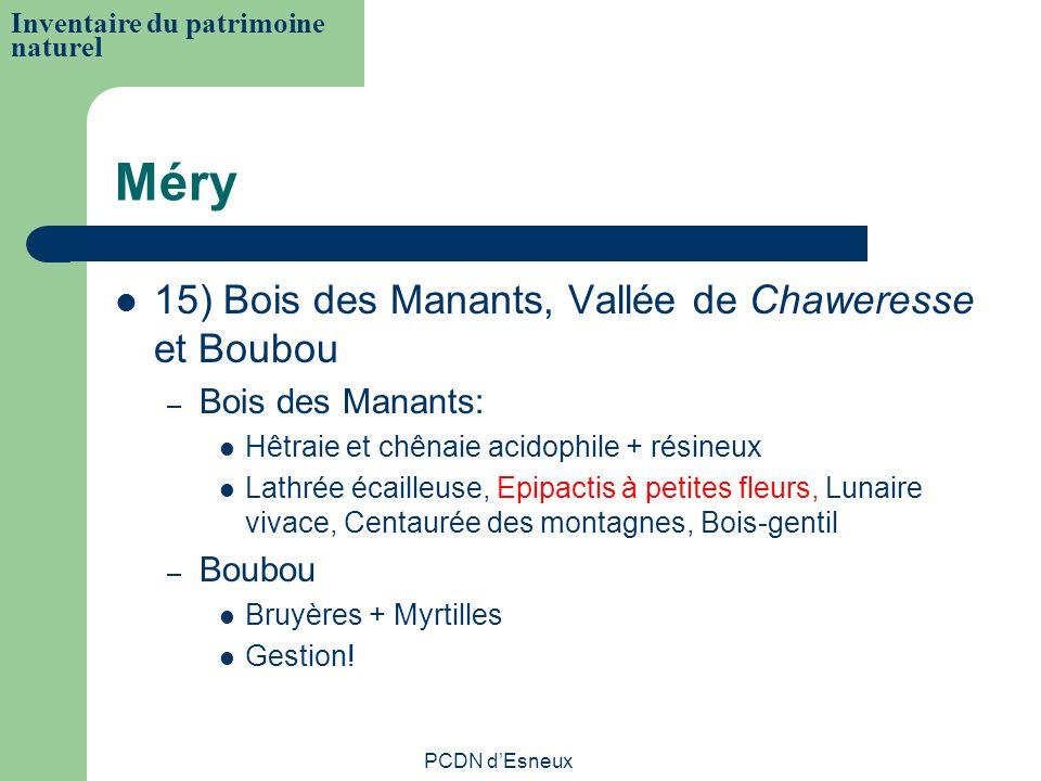 Méry 15) Bois des Manants, Vallée de Chaweresse et Boubou