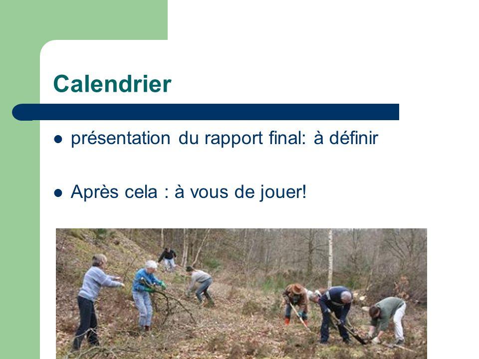 Calendrier présentation du rapport final: à définir