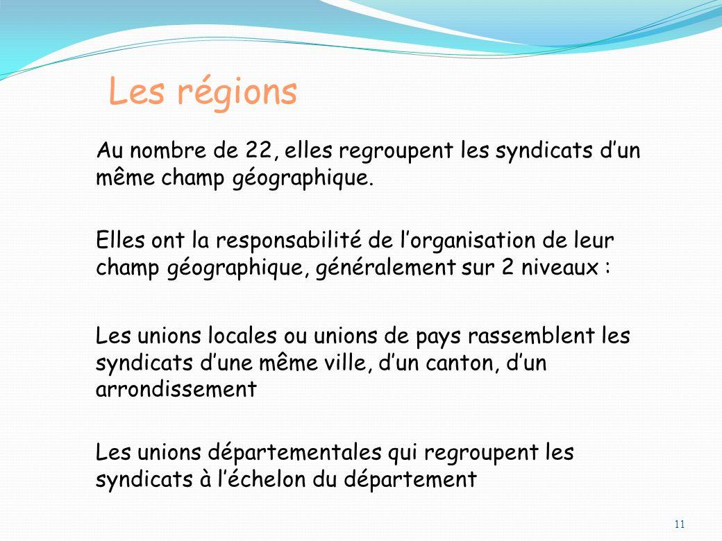 Les régions Au nombre de 22, elles regroupent les syndicats d'un même champ géographique.