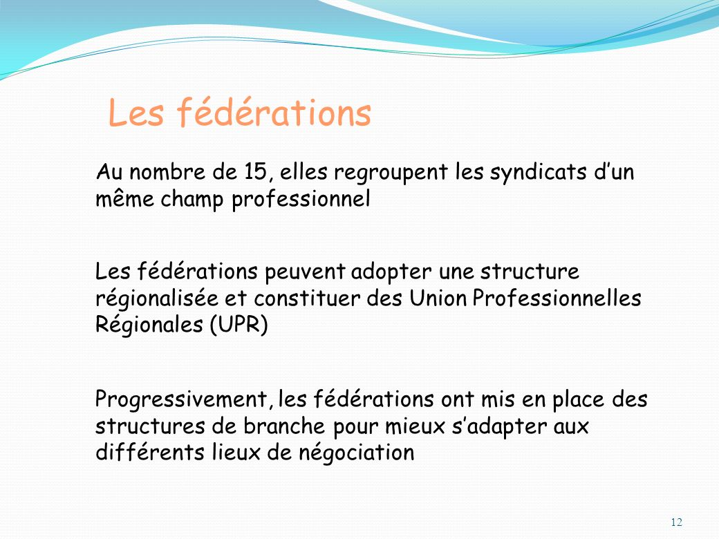 Les fédérations Au nombre de 15, elles regroupent les syndicats d'un même champ professionnel.