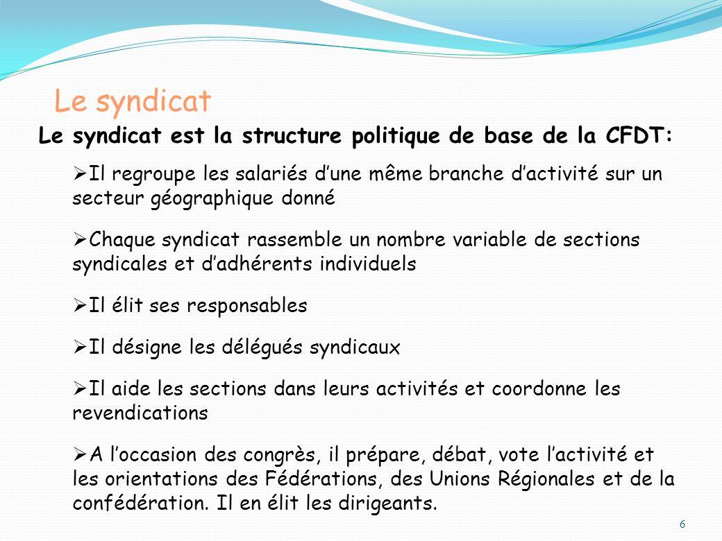 Le syndicat Le syndicat est la structure politique de base de la CFDT: