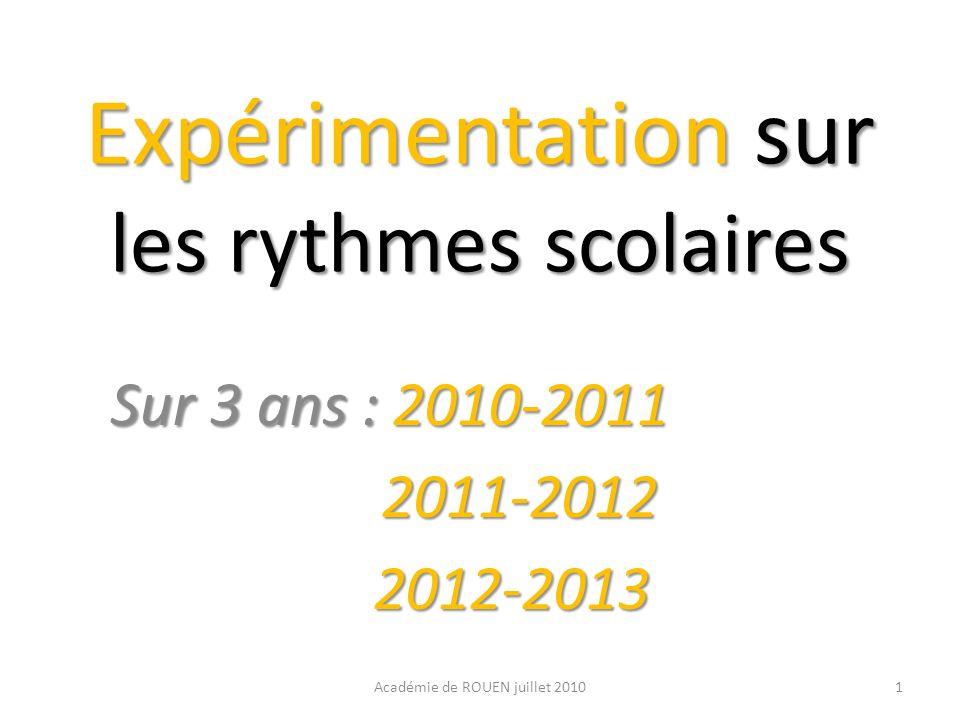 Expérimentation sur les rythmes scolaires