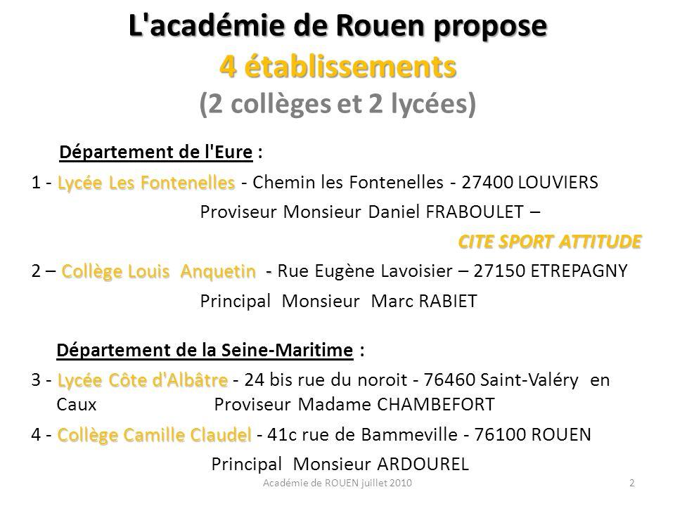 L académie de Rouen propose 4 établissements (2 collèges et 2 lycées)