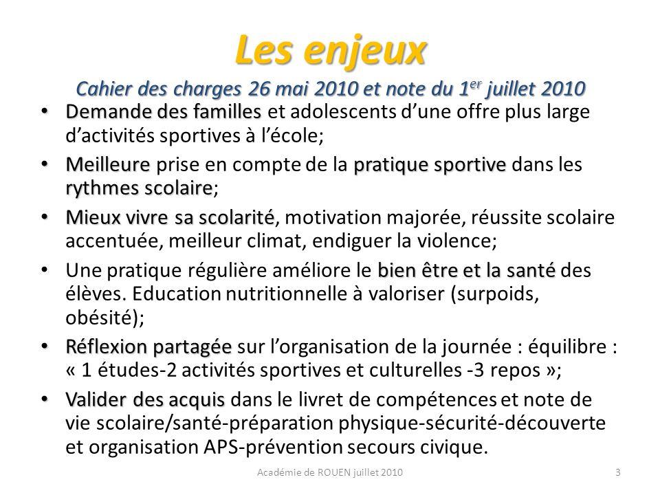 Les enjeux Cahier des charges 26 mai 2010 et note du 1er juillet 2010