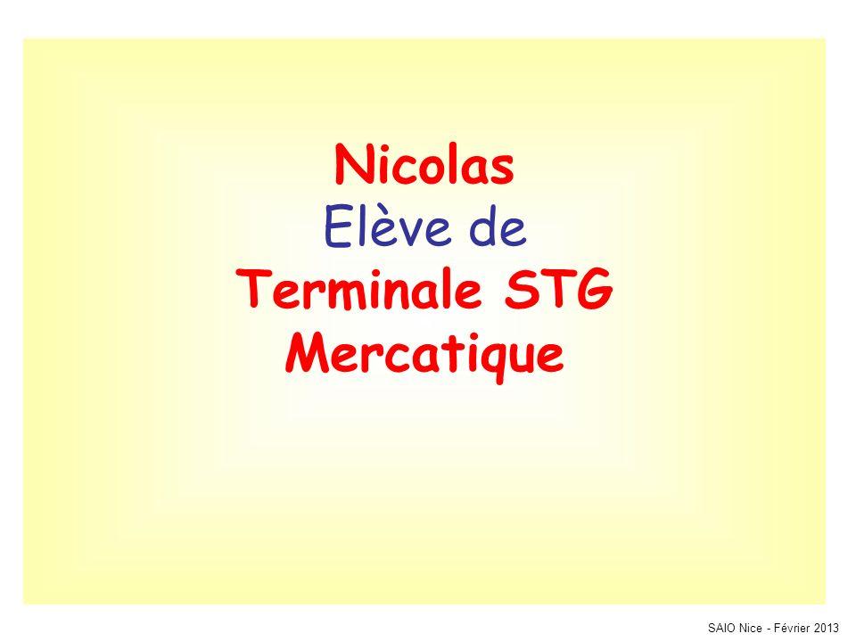 Nicolas Elève de Terminale STG Mercatique