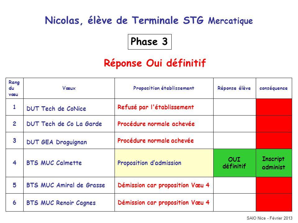 Nicolas, élève de Terminale STG Mercatique Proposition établissement