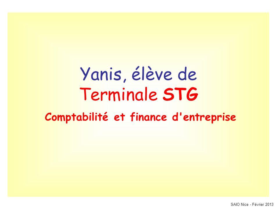 Yanis, élève de Terminale STG Comptabilité et finance d entreprise