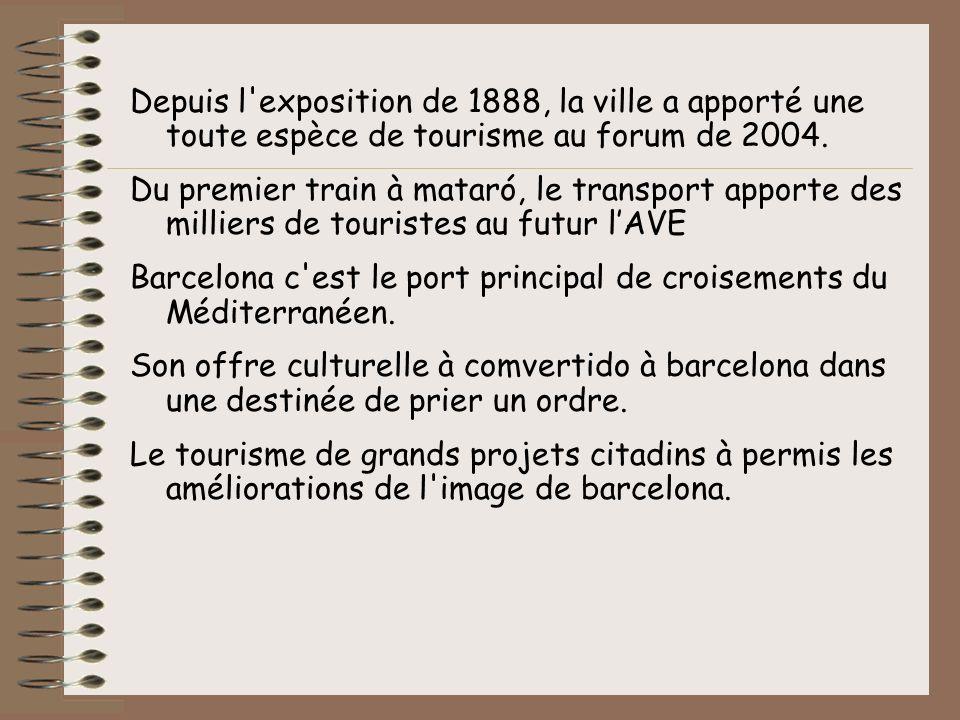 Depuis l exposition de 1888, la ville a apporté une toute espèce de tourisme au forum de 2004.