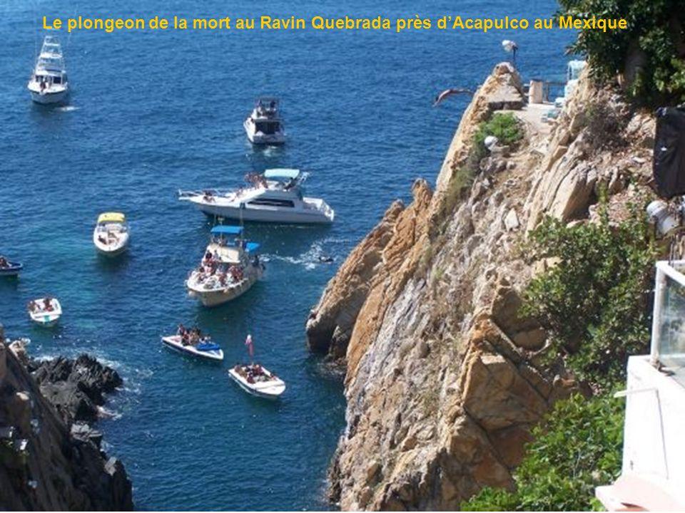 Le plongeon de la mort au Ravin Quebrada près d'Acapulco au Mexique