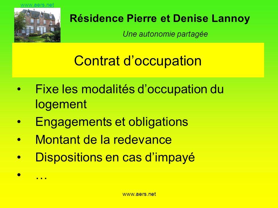 Contrat d'occupation Fixe les modalités d'occupation du logement