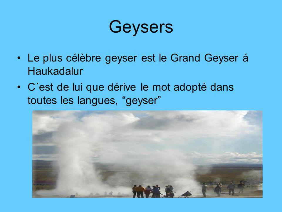 Geysers Le plus célèbre geyser est le Grand Geyser á Haukadalur