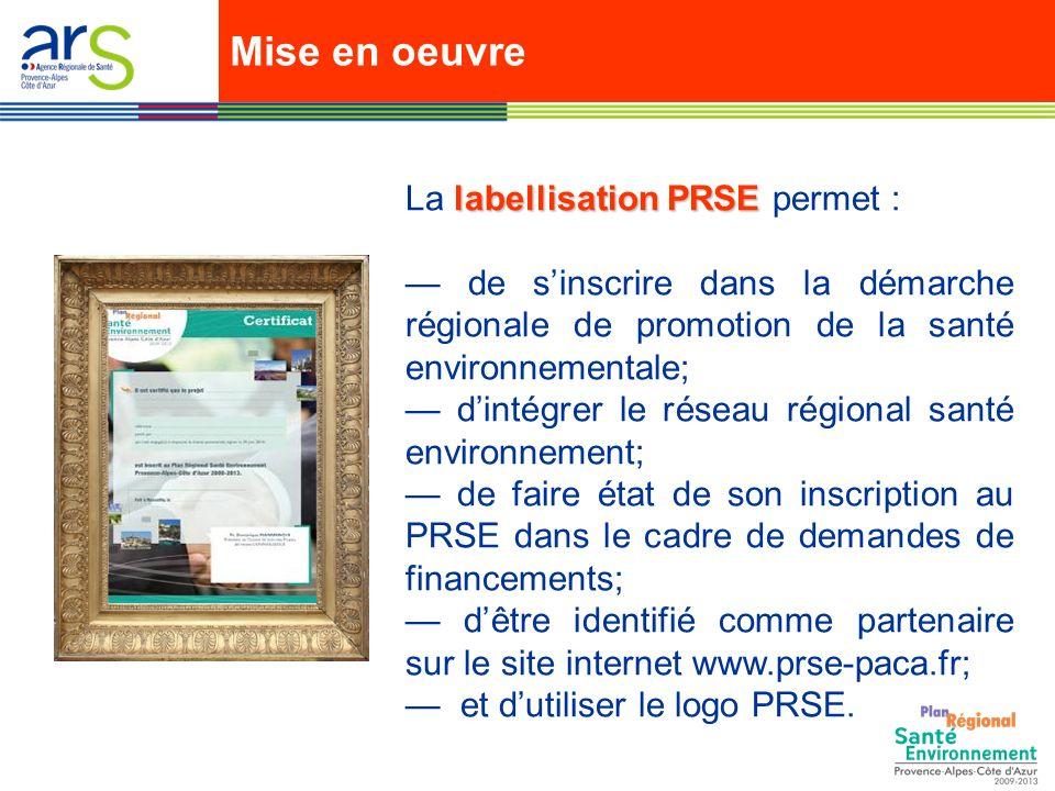 Mise en oeuvre La labellisation PRSE permet :