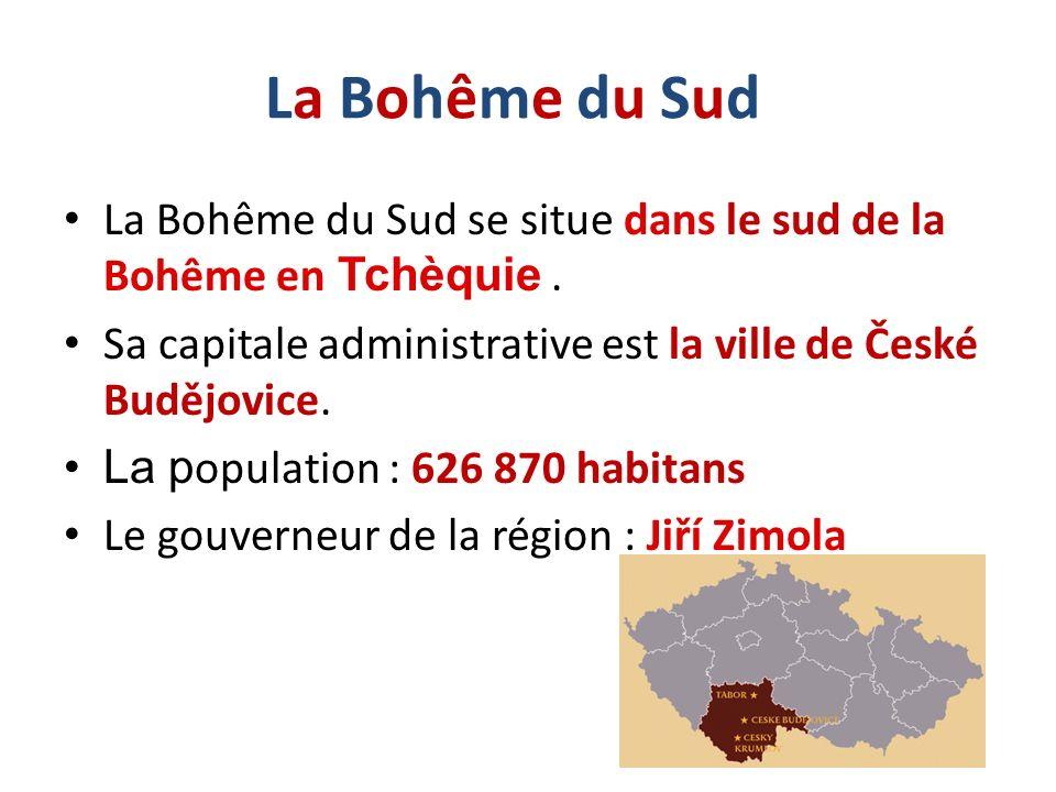 La Bohême du Sud La Bohême du Sud se situe dans le sud de la Bohême en Tchèquie . Sa capitale administrative est la ville de České Budějovice.