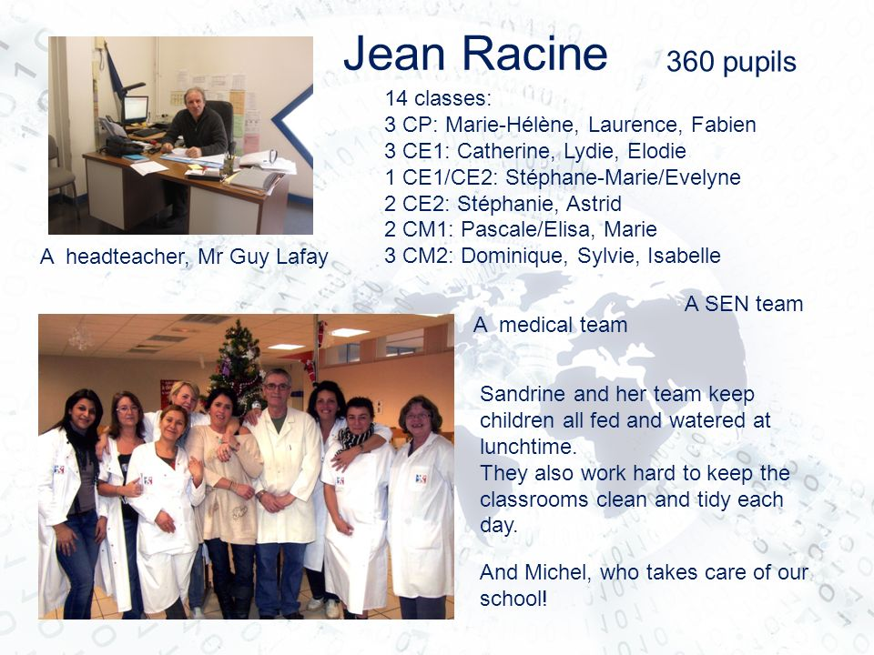 Jean Racine 360 pupils 14 classes: