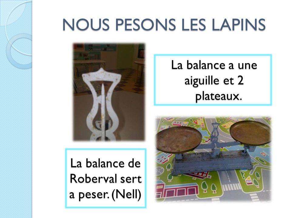 NOUS PESONS LES LAPINS La balance a une aiguille et 2 plateaux.