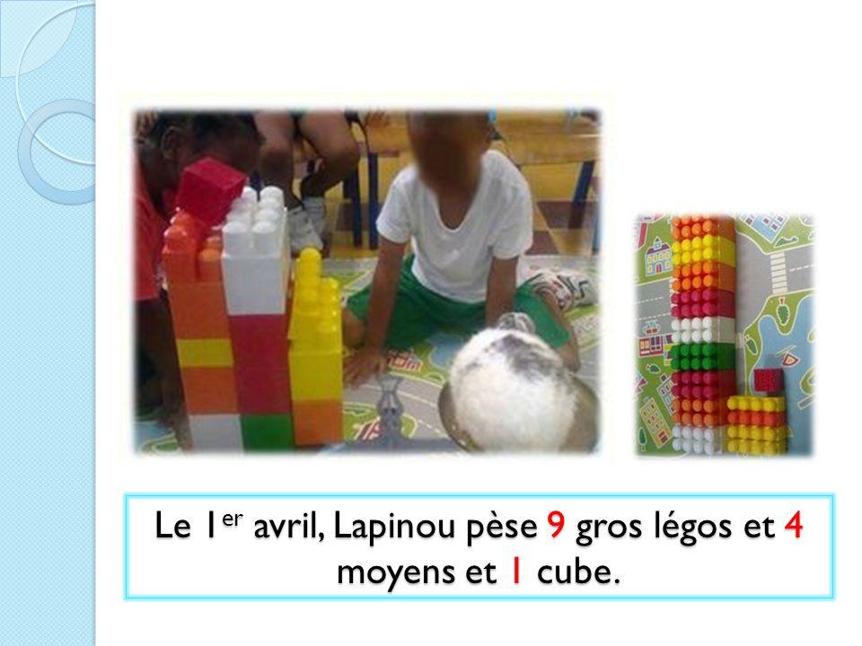 Le 1er avril, Lapinou pèse 9 gros légos et 4 moyens et 1 cube.