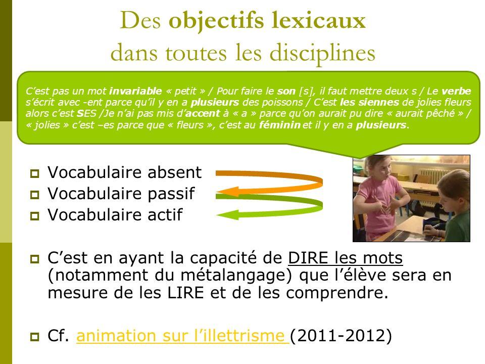 Des objectifs lexicaux dans toutes les disciplines