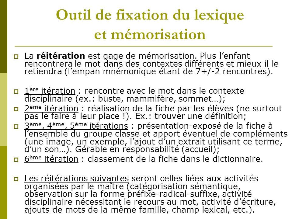 Outil de fixation du lexique et mémorisation