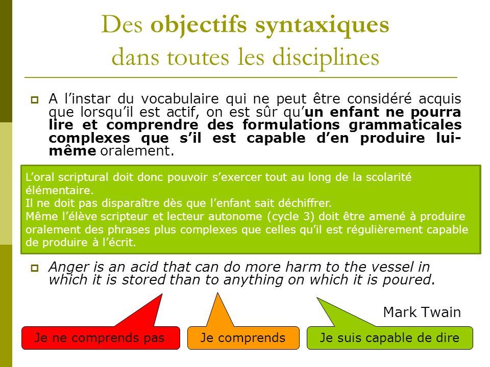 Des objectifs syntaxiques dans toutes les disciplines