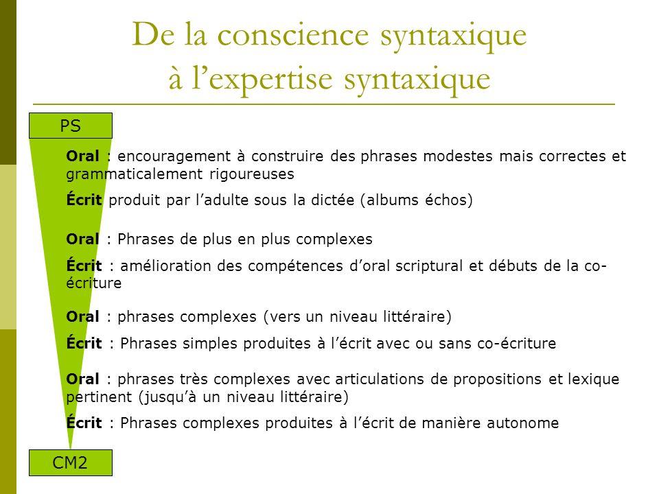 De la conscience syntaxique à l'expertise syntaxique