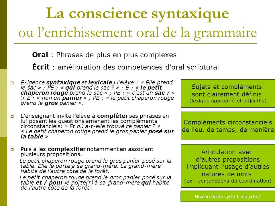 La conscience syntaxique ou l'enrichissement oral de la grammaire