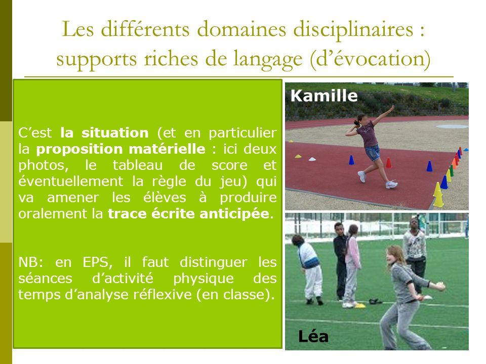 Les différents domaines disciplinaires : supports riches de langage (d'évocation)