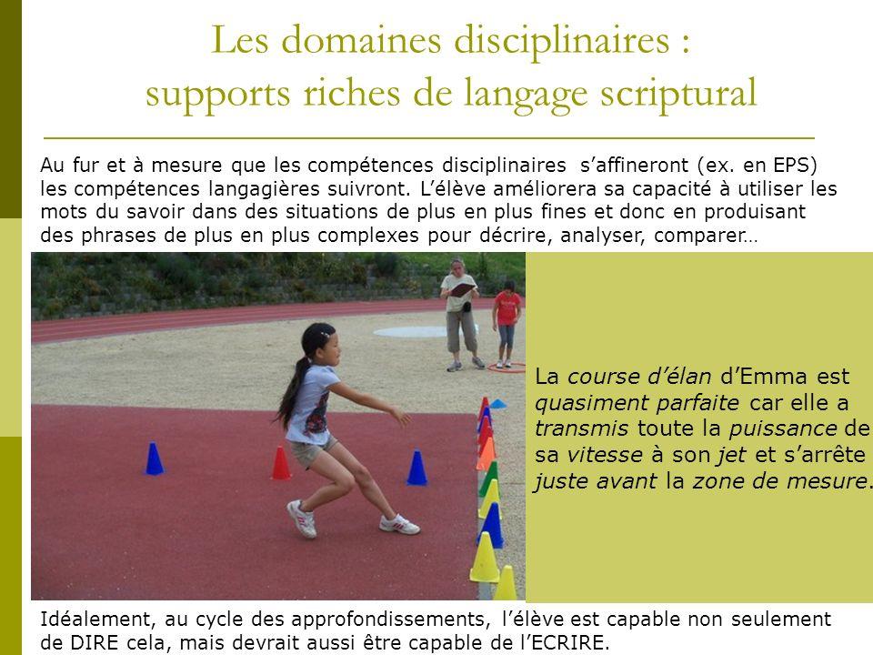 Les domaines disciplinaires : supports riches de langage scriptural