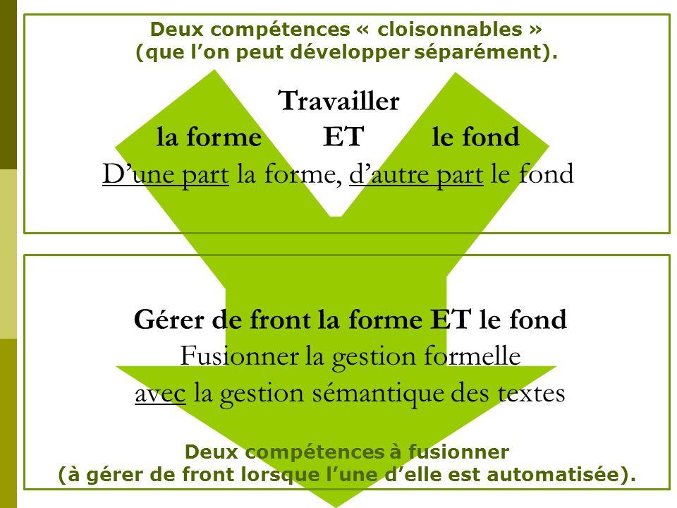 la forme ET le fond D'une part la forme, d'autre part le fond