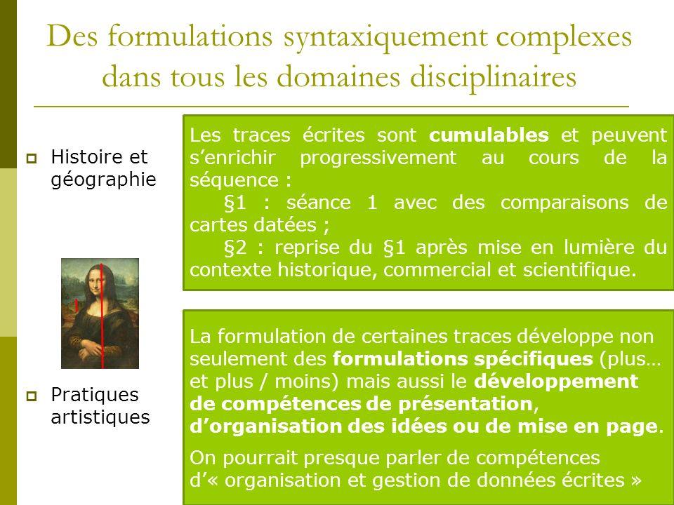 Des formulations syntaxiquement complexes dans tous les domaines disciplinaires