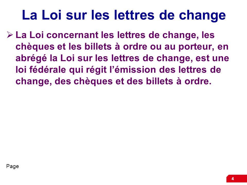 La Loi sur les lettres de change