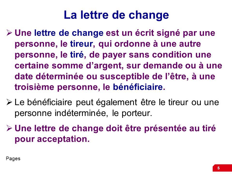 La lettre de change