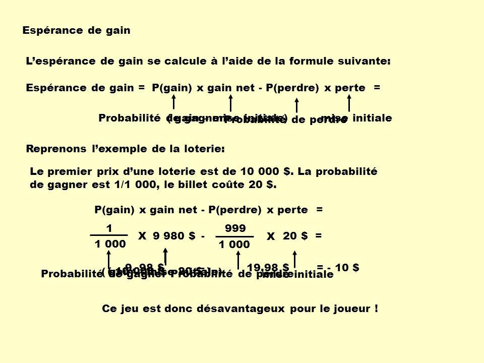 Espérance de gain L'espérance de gain se calcule à l'aide de la formule suivante: Espérance de gain =