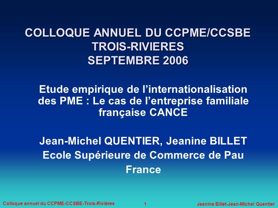 COLLOQUE ANNUEL DU CCPME/CCSBE TROIS-RIVIERES SEPTEMBRE 2006