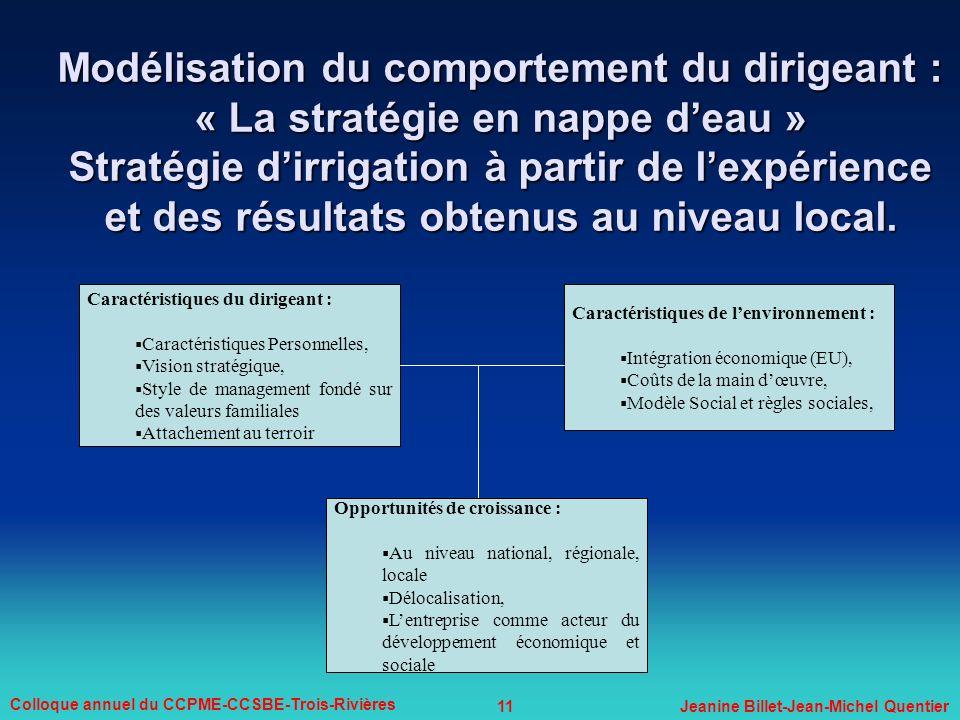 Modélisation du comportement du dirigeant : « La stratégie en nappe d'eau » Stratégie d'irrigation à partir de l'expérience et des résultats obtenus au niveau local.