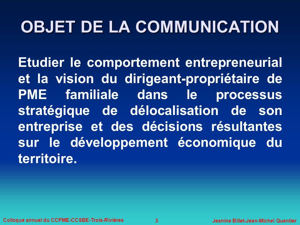 OBJET DE LA COMMUNICATION