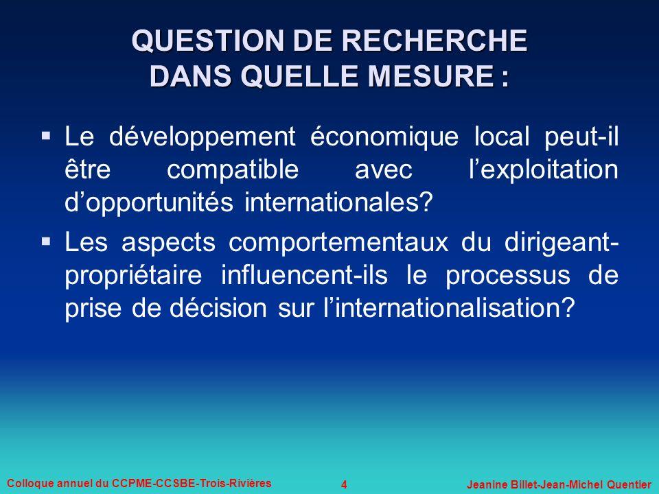 QUESTION DE RECHERCHE DANS QUELLE MESURE :