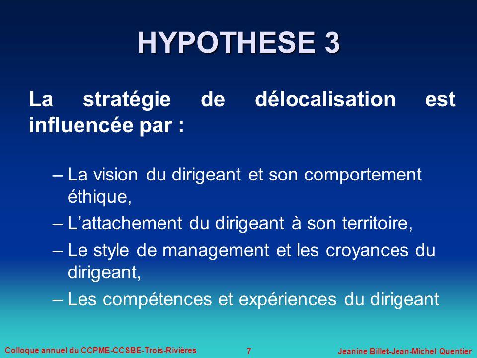 HYPOTHESE 3 La stratégie de délocalisation est influencée par :