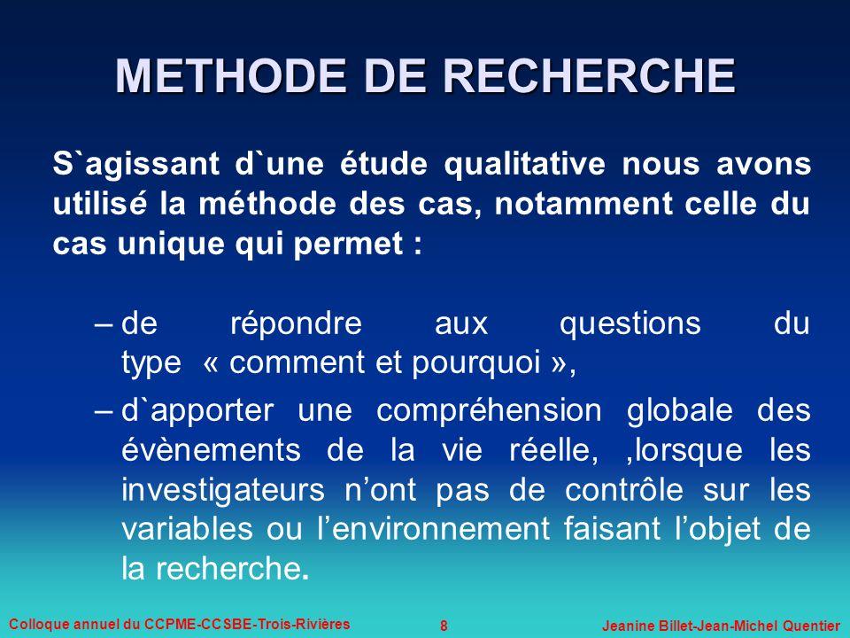 METHODE DE RECHERCHE S`agissant d`une étude qualitative nous avons utilisé la méthode des cas, notamment celle du cas unique qui permet :