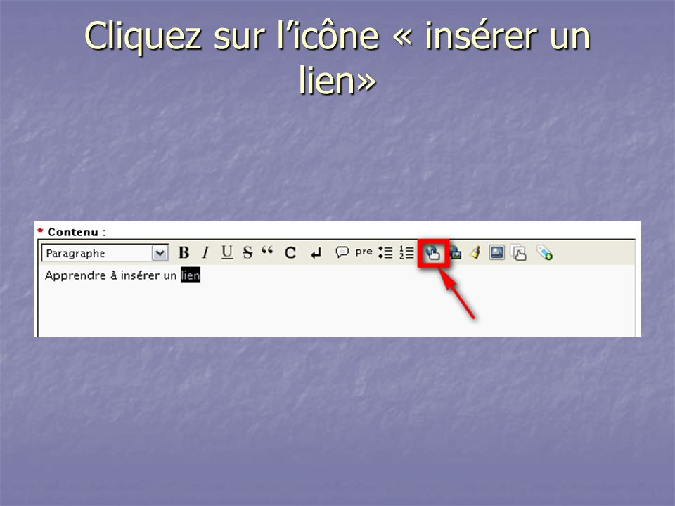 Cliquez sur l'icône « insérer un lien»