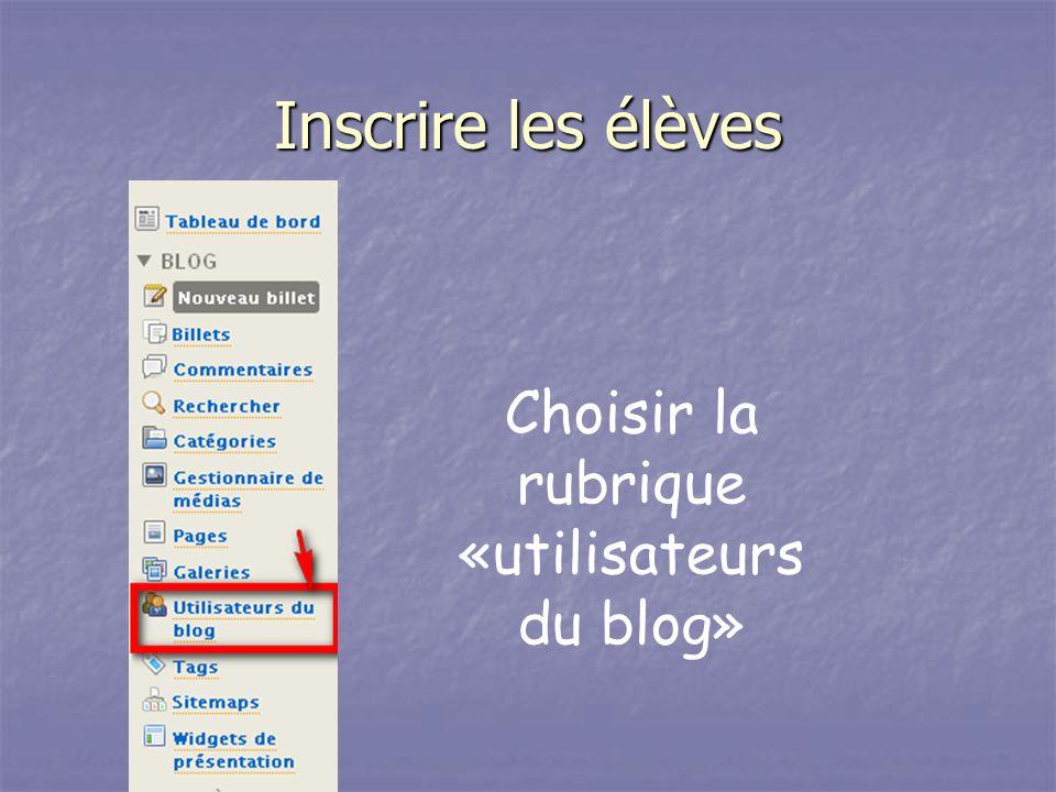 Choisir la rubrique «utilisateurs du blog»
