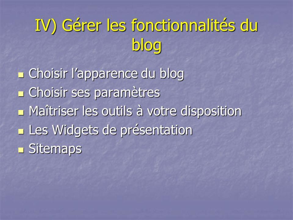 IV) Gérer les fonctionnalités du blog