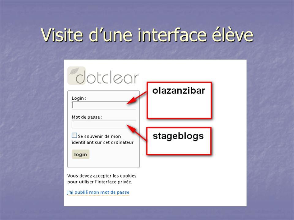Visite d'une interface élève